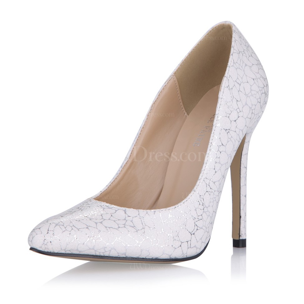 Ivory Narrow Wedding Shoes Pointed Toe Party Amp Evening PU Stiletto Heel Girls