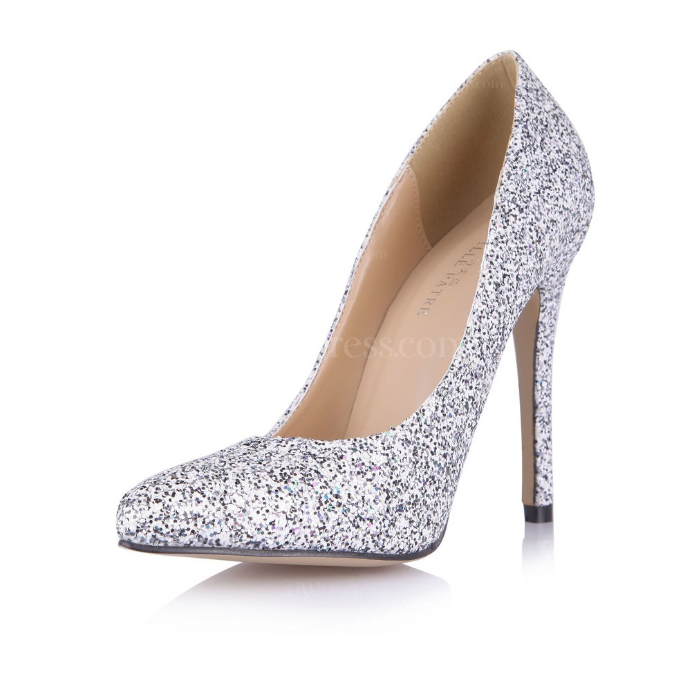 Silver Office Amp Career Wedding Shoes Girls Narrow Sparkling Glitter Pointed Toe Sequined Cloth