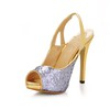 Stiletto Heel Platforms Office & Career Narrow Women's Peep Toe Sequined Cloth/Sparkling Glitter