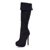 Closed Toe Wedding Shoes Graduation Mid-Calf Boots Average Stretch Velvet Girls'