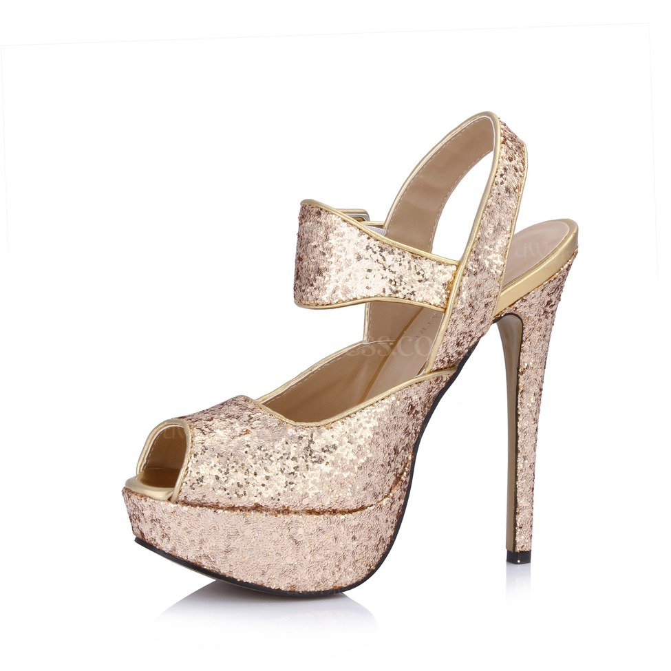 Sequined Cloth Sparkling Glitter Wedding Shoes Dress Buckle Women S Extra Wide Stiletto Heel