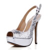 Women's Wedding Shoes Wide Open Toe Sequined Cloth/Sparkling Glitter Stiletto Heel Buckle