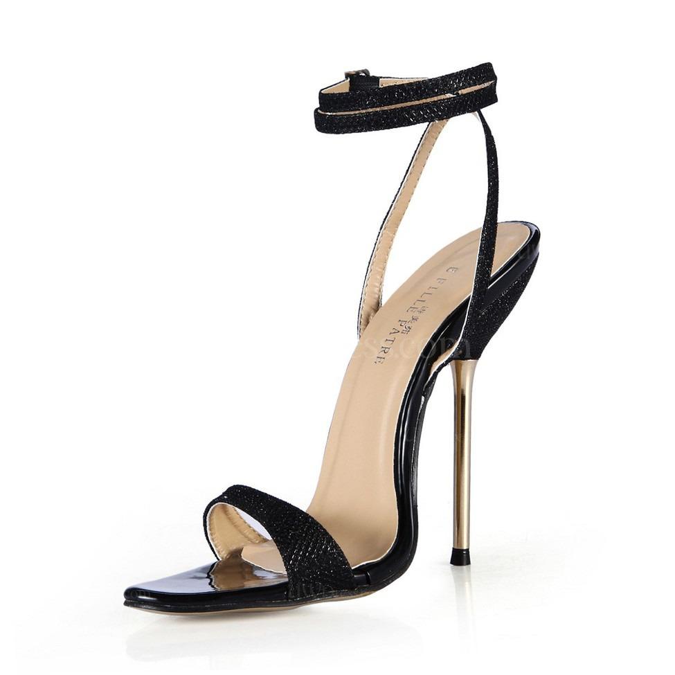 Black Open Toe Dance Shoes Buckle Dress Stiletto Heel