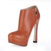 PU Wedding Shoes Outdoor Booties/Ankle Boots Average Stiletto Heel Zipper