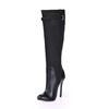 Knee High Boots Wedding Shoes Stiletto Heel Buckle Party & Evening Average Stretch Velvet