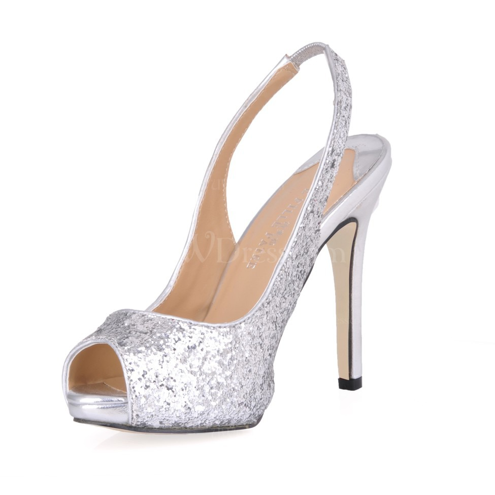 Silver Stiletto Heel Wedding Shoes Sequined Cloth Sparkling Glitter Open Toe Womens Narrow