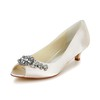 Honeymoon Wedding Shoes Low Heel Satin Girls' Rhinestone Round Toe