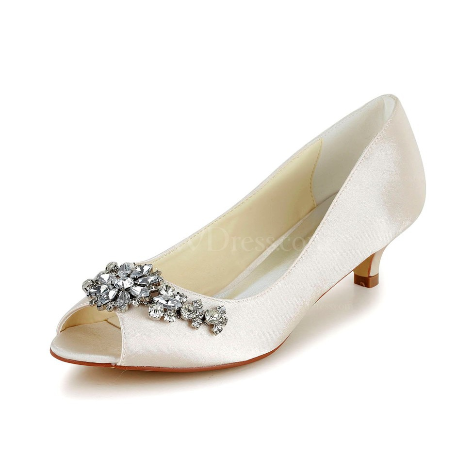 Marzipan Honeymoon Wedding Shoes Low Heel Satin Girls