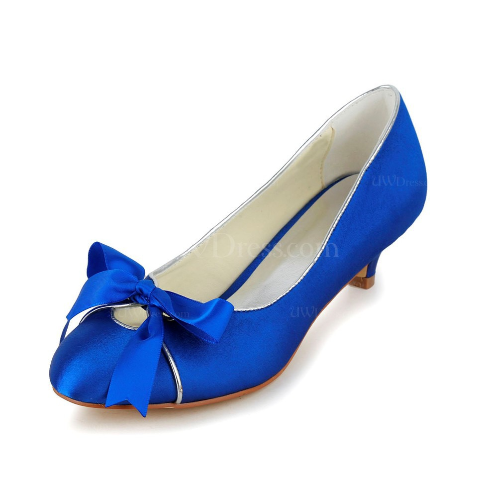 Royal Blue Low Heel Wedding Shoes Bowknot Closed Toe