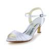 Honeymoon Wedding Shoes Sandals Women's Satin Kitten Heel