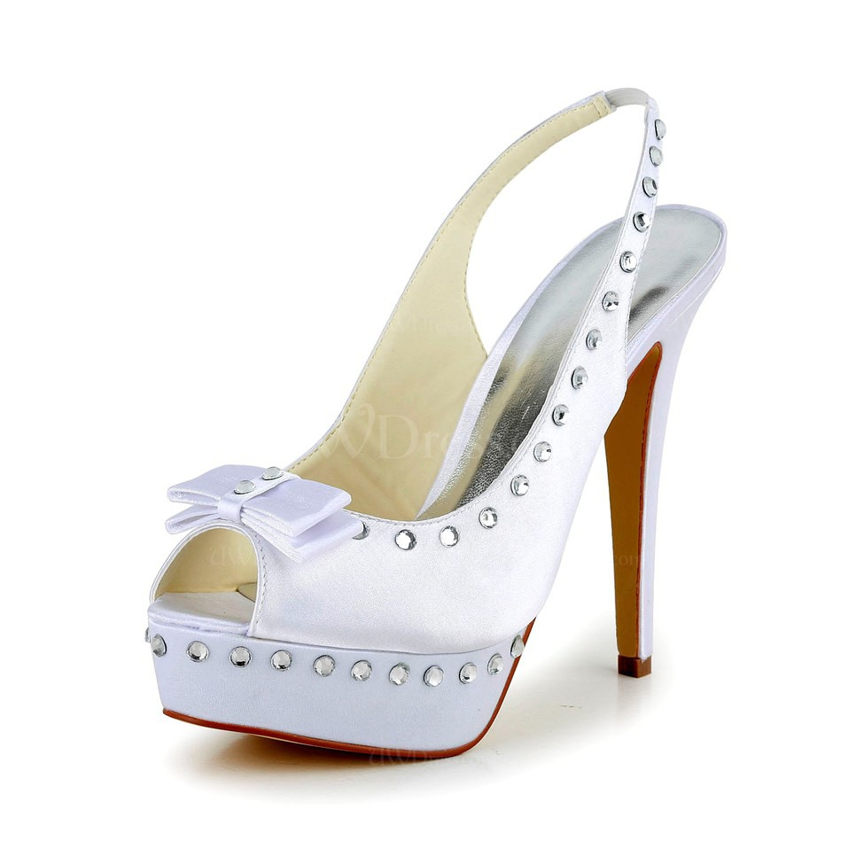 White Slingbacks Wedding Shoes Stiletto Heel Satin Women S