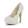 Satin Platforms Round Toe Applique Party & Evening Women's Stiletto Heel