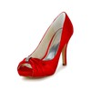 Satin Wedding Shoes Sandals Rhinestone Stiletto Heel Women's Daily