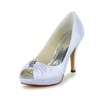 Stiletto Heel Wedding Shoes Satin Ruched Sandals Girls' Graduation