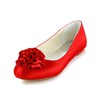 Flat Heel Loafers Dress Closed Toe Women's Flower Satin