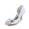 Kitten Heel Pumps/Heels Satin Women's Wedding Rhinestone Round Toe
