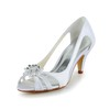 Women's Pumps/Heels Kitten Heel Honeymoon Open Toe Rhinestone Satin