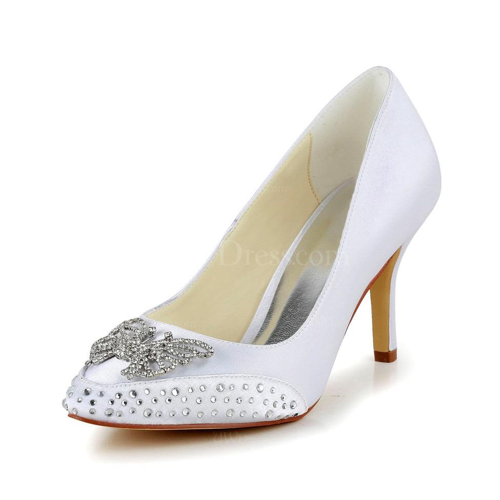 Cream Satin Wedding Shoes Pointed Toe Rhinestone Outdoor Womens Kitten Heel