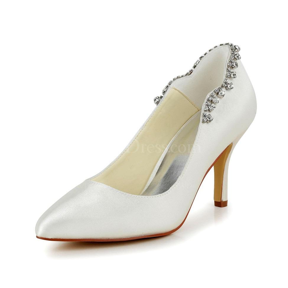 cream kitten heel pumps heels girls 39 rhinestone satin. Black Bedroom Furniture Sets. Home Design Ideas