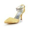 Satin Pumps/Heels Women's Pointed Toe Rhinestone Honeymoon Kitten Heel