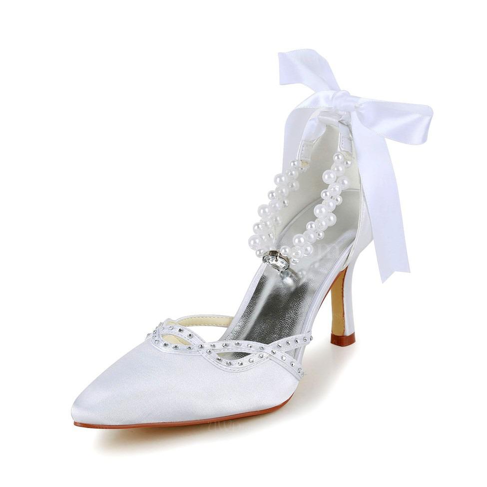 cream kitten heel pumps heels girls 39 satin imitation pearl. Black Bedroom Furniture Sets. Home Design Ideas