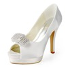 Honeymoon Platforms Silk Like Satin Pumps/Heels Stiletto Heel Rhinestone Women's