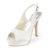 Outdoor Platforms Women's Silk Like Satin Peep Toe Stiletto Heel Buckle