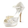 Round Toe Sandals Silk Like Satin Girls' Rhinestone Graduation Stiletto Heel