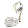 Stiletto Heel Wedding Shoes Silk Like Satin Girls' Buckle Casual Open Toe