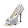 Silk Like Satin Pumps/Heels Rhinestone Women's Stiletto Heel Casual Round Toe