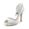Graduation Wedding Shoes Rhinestone Silk Like Satin Kitten Heel Round Toe Women's