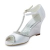 Wedge Heel Wedding Shoes Women's Silk Like Satin Rhinestone Pumps/Heels Graduation