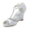 Wedge Heel Wedding Shoes Women's Silk Like Satin Rhinestone Pumps/Heels Graduation
