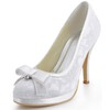 Kitten Heel Wedding Shoes Women's Bowknot Closed Toe Party & Evening Silk Like Satin