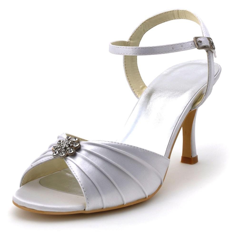 cream silk like satin wedding shoes women 39 s buckle. Black Bedroom Furniture Sets. Home Design Ideas
