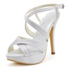 Silk Like Satin Platforms Ruched Stiletto Heel Girls' Dress Round Toe