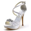 Ruched Pumps/Heels Open Toe Office & Career Silk Like Satin Girls' Stiletto Heel