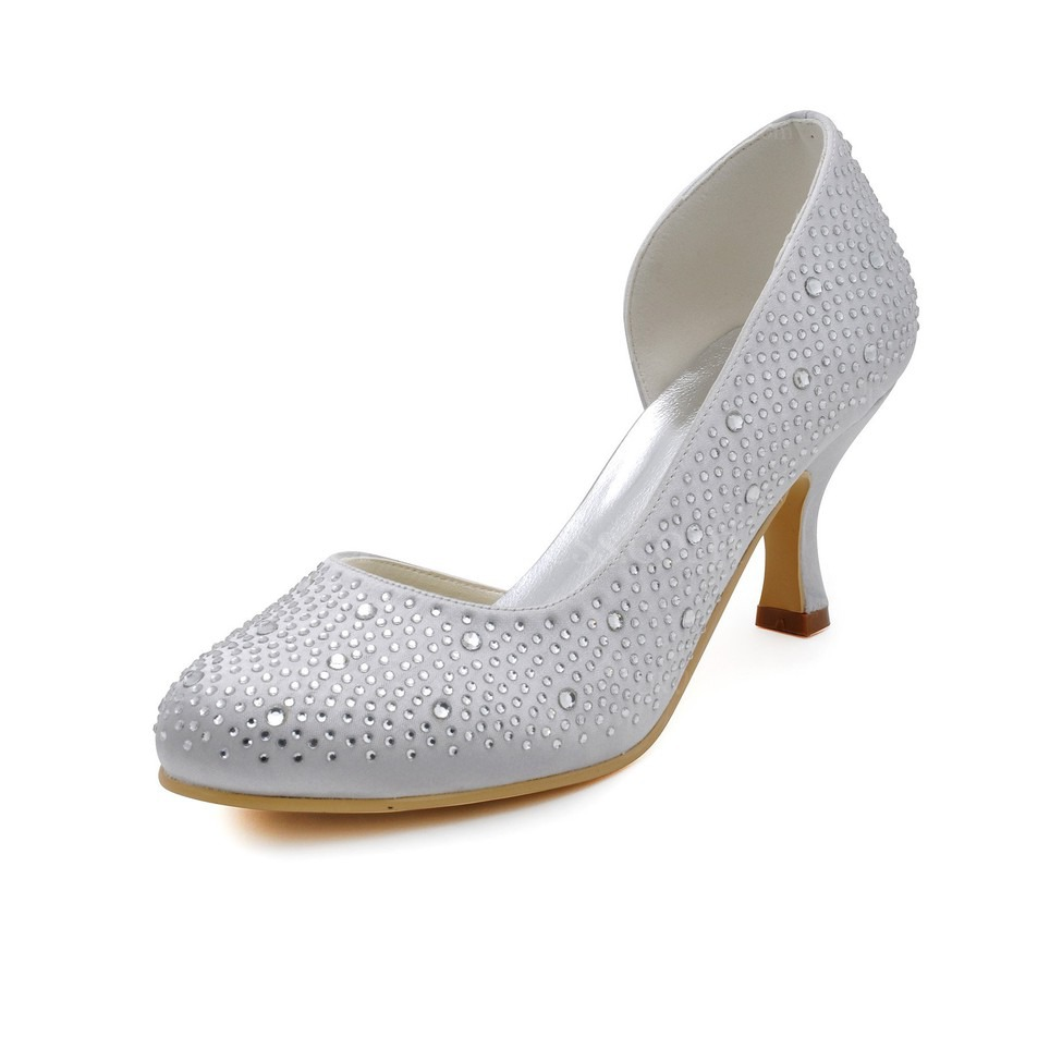 cream silk like satin wedding shoes rhinestone spool heel. Black Bedroom Furniture Sets. Home Design Ideas
