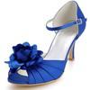 Women's Wedding Shoes Satin Flower Kitten Heel Dress Silk Like Satin D'Orsay & Two-Piece