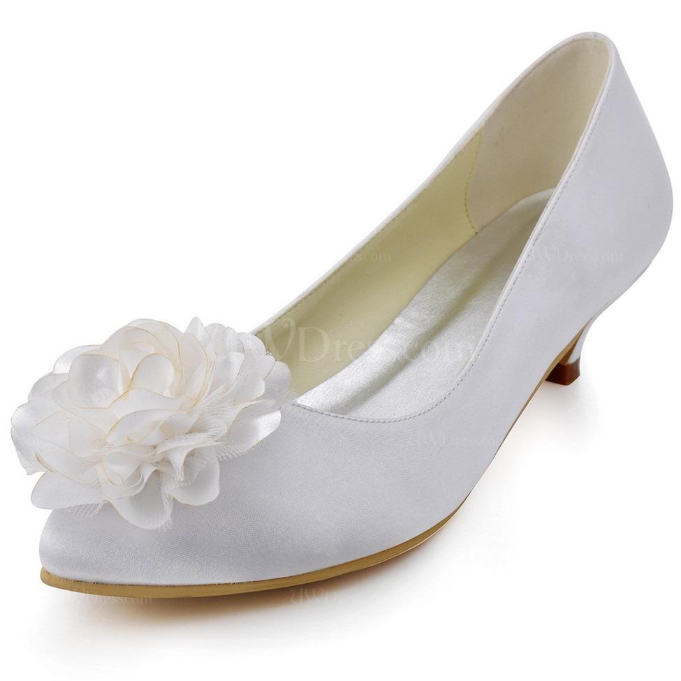 cream closed toe pumps heels flower low heel girls 39 silk. Black Bedroom Furniture Sets. Home Design Ideas