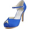 Stiletto Heel Wedding Shoes Girls' Graduation Round Toe Silk Like Satin Buckle
