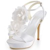 Stiletto Heel Platforms Buckle Silk Like Satin Wedding Sandals Women's