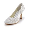 Kitten Heel Wedding Shoes Closed Toe Lace Office & Career Women's Silk Like Satin