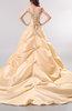 Modest Outdoor V-neck Taffeta Chapel Train Appliques Bridal Gowns