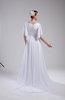 Vintage Church V-neck Half Length Sleeve Zipper Court Train Beaded Bridal Gowns