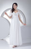 Modest Outdoor Empire Backless Chiffon Ankle Length Beaded Bridal Gowns