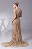 Elegant Asymmetric Neckline Sleeveless Half Backless Court Train Evening Dresses