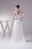 Plain Church A-line Zipper Chiffon Flower Bridal Gowns