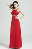 Antique A-line One Shoulder Chiffon Beaded Plus Size Prom Dresses