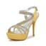 Wedding Platforms Stiletto Heel Rhinestone Slingbacks Girls' Satin